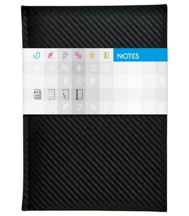 Notepad A5 Carbon squared černý 2019