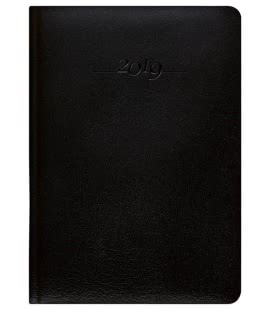 Leather diary A5 daily Carus black SK 2019