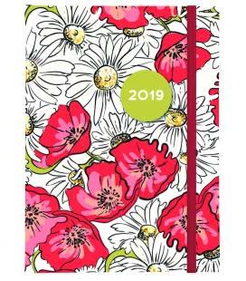 Daily Diary B6 Vlčí máky s gumičkou - tištěný a laminovaný potah 2019