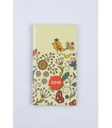 """Weekly Pocket Diary A6 """"LAMINO"""" Kytičky - tištěný a laminovaný potah 2019"""