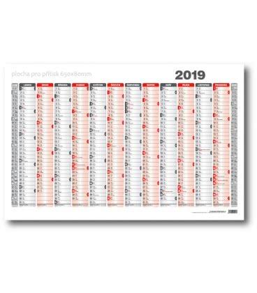 Wall calendar map A1 annual list formátu 990x678 mm 2019