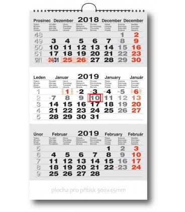 Wall calendar 3monthly working - grey 2019