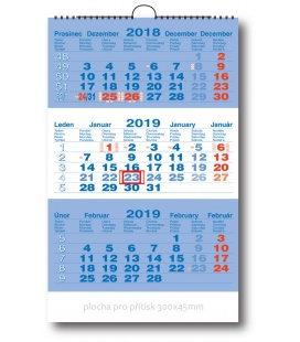 Nástěnný kalendář Tříměsíční pracovní - modrý 2019
