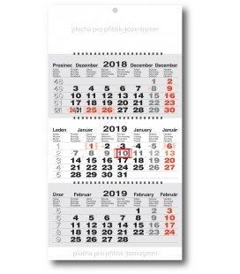 Nástěnný kalendář Tříměsíční pracovní skládaný-spirála-šedý 2019