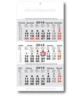 Wall calendar 3monthly working fluted - spiral - grey 2019