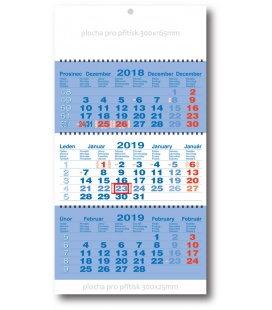 Nástěnný kalendář Tříměsíční pracovní skládaný-spirála-modrý 2019