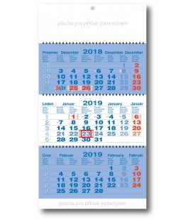 Wall calendar 3monthly working fluted - spiral - blue 2019