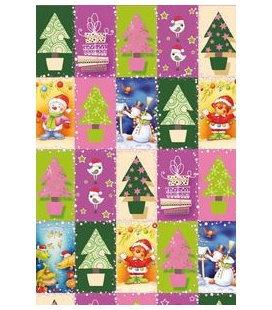 Vánoční dárkový balicí papír v roličce - 2x 70 x 100 cm - Fialové vánoce