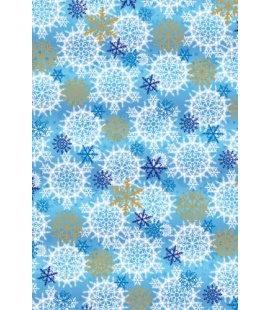 Vánoční dárkový balicí papír v roličce - 2x 70 x 100 cm - Modré vločky