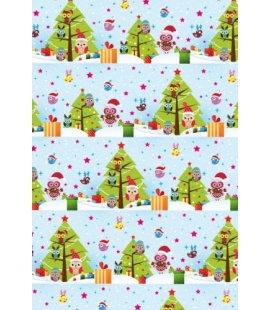 Vánoční dárkový balicí papír v roličce - 2x 70 x 100 cm - Vánoční sovičky