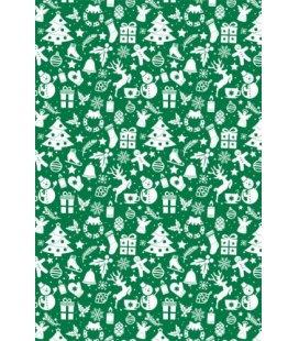 Vánoční dárkový balicí papír v roličce - 2x 70 x 100 cm - Zelený motiv