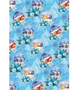 Vánoční dárkový balicí papír v roličce - 2x 70 x 100 cm - Modré chaloupky