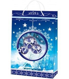 Vánoční dárková taška L - 23 x 36 x 10 cm - modrá ozdoba, lamino