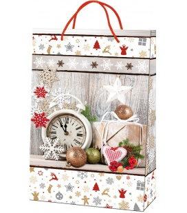 Vánoční dárková taška L - 23 x 36 x 10 cm - bílé zákoutí, lamino
