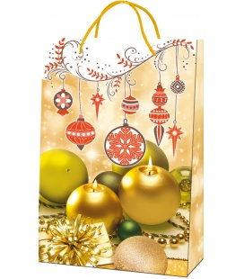 Vánoční dárková taška L - 23 x 36 x 10 cm - zlaté svíčky, lamino