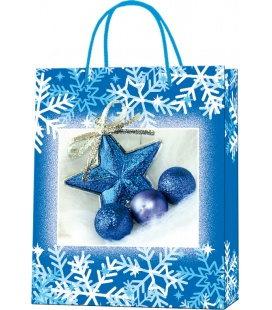 Vánoční dárková taška M - 18 x 22 x 9 cm - modrá hvězda, lamino