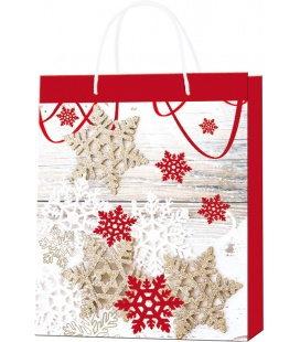 Vánoční dárková taška M - 18 x 22 x 9 cm - červená a bílá vločka, lamino