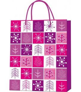 Vánoční dárková taška M - 18 x 22 x 9 cm - čtverečky, lamino