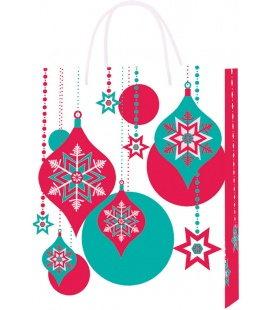 Vánoční dárková taška M - 18 x 22 x 9 cm - ozdoby, lamino