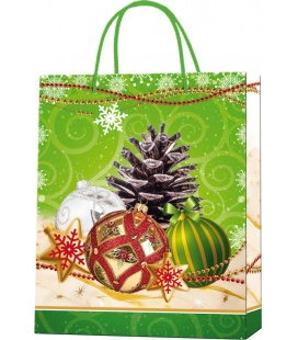 Vánoční dárková taška M - 18 x 22 x 9 cm - zelená, lamino