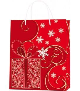 Vánoční dárková taška M - 18 x 22 x 9 cm - červená, lamino