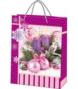 Vánoční dárková taška XXL - 34,6 x 46,1 x 14 cm - fialový svícen, lamino