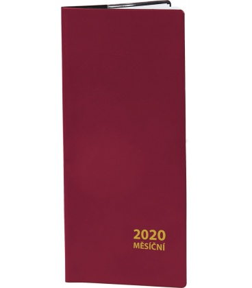 Pocket diary monthly PVC - bordo 2020