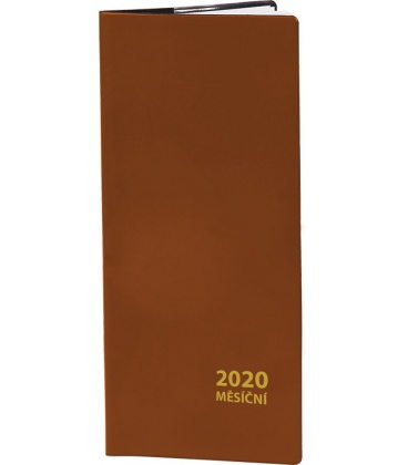 Pocket diary monthly PVC - brown 2020