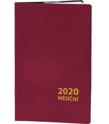 Pocket diary monthly PVC - MINI - bordo 2020