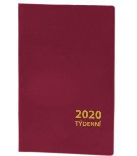 Pocket diary fortnightly PVC - bordo 2020