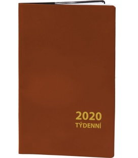 Pocket diary fortnightly PVC - brown 2020