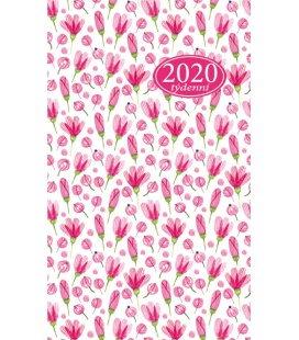Pocket diary fortnightly lamino - Růžové kytky 2020