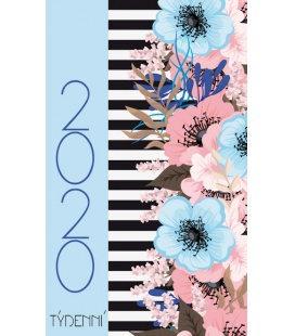 Pocket diary fortnightly lamino - Květiny 2020