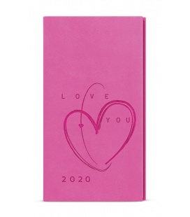 Weekly Pocket Diary - Jakub - vivella s ražbou - růžová - Srdce 2020
