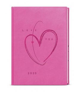 Weekly Diary A5 - Oskar - vivella s ražbou - růžová - Srdce 2020