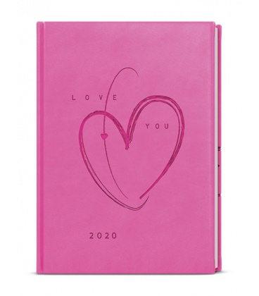 Daily Diary B6 - Adam - vivella s ražbou - růžová - Srdce 2020