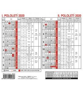 Table calendar Plánovací karta 2020
