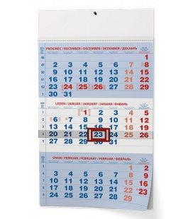 Wall calendar Tříměsíční - A3 (s mezinárodními svátky) - modrý 2020