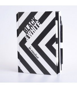 Notepad - Black and white - A5 - kreativní notes - zebra 2020