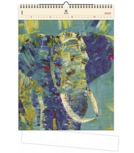 Wood Wall calendar Elephant 2020