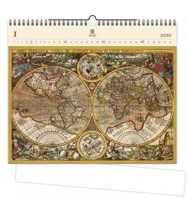 Wood Wall calendar Antique Maps 2020