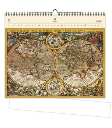 Wood Wall calendar Antique Maps 2020