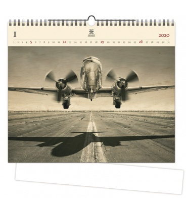 Wood Wall calendar Airplane 2020