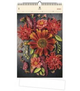 Wood Wall calendar Flowers 2020