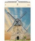 Wood Wall calendar Windmill 2020