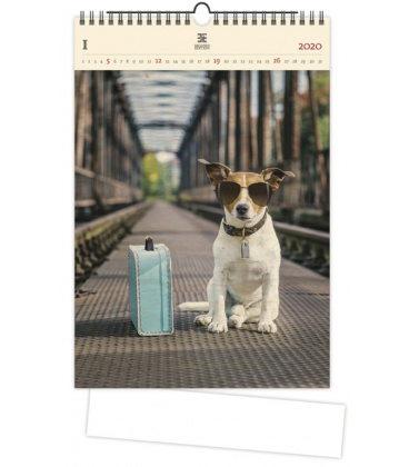 Wood Wall calendar Dog 2020
