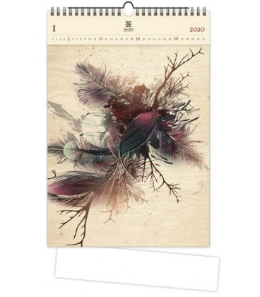 Wood Wall calendar Feathers 2020