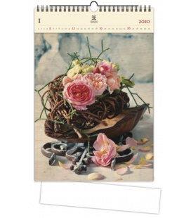 Wood Wall calendar Roses 2020