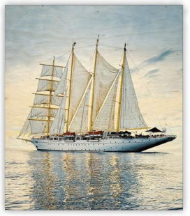 Wall calendar - Wooden picture -  Sailing 2020