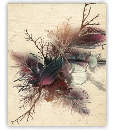 Wall calendar - Wooden picture -  Feathers 2020